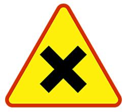 znak drogowy - skrzyżowanie